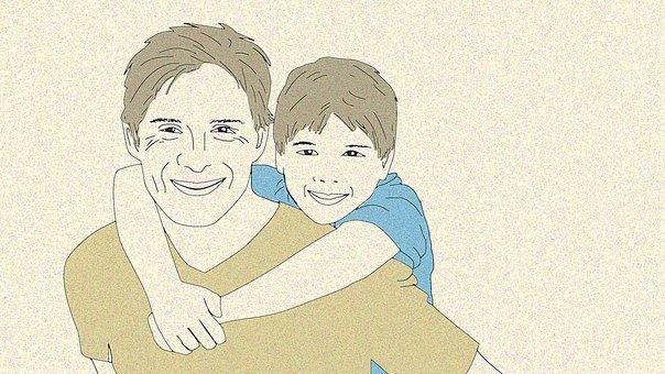 enfant sur le dos de son parent. les deux sourient